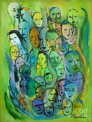 Forty Poster featuring the painting Forty Faces by Larry Martin