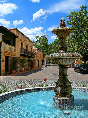 Fountain At Tlaquepaque Arts And Crafts Village Sedona Arizona Poster by Amy Cicconi