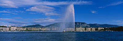 Fountain In Front Of Buildings, Jet Poster by Panoramic Images
