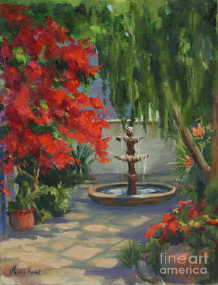 Fountain In The Courtyard Poster by Maria Hunt