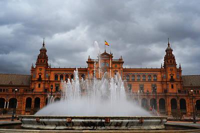 Fountain On Plaza De Espana. Seville Poster by Jenny Rainbow