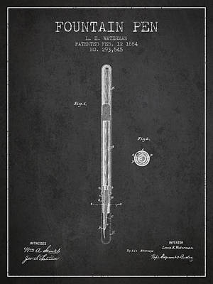 Fountain Pen Patent From 1884 - Charcoal Poster by Aged Pixel