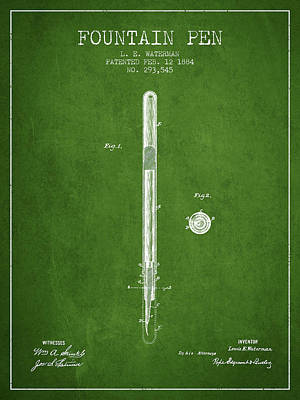 Fountain Pen Patent From 1884 - Green Poster by Aged Pixel