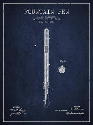 Fountain Pen Patent From 1884 - Navy Blue Poster by Aged Pixel