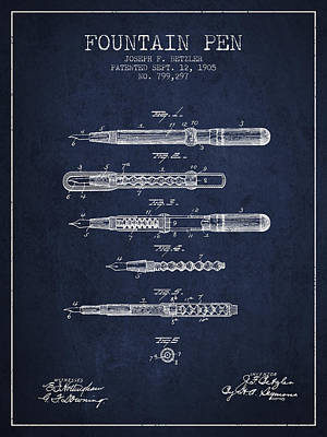 Fountain Pen Patent From 1905 - Navy Blue Poster by Aged Pixel