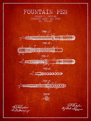 Fountain Pen Patent From 1905 - Red Poster by Aged Pixel