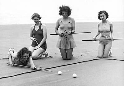 Four Girls Playing Sand Pool Poster by Underwood Archives