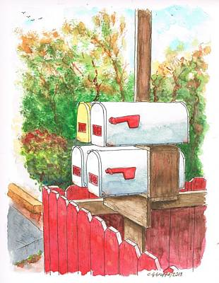 Four Mail Boxes Near A Picket Fence In Laguna Beach - California Poster by Carlos G Groppa