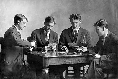 Four Men Playing Cards Poster by Underwood Archives
