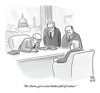 Four Old Washington Bureaucrats Stand Over A Desk Poster by Paul Noth