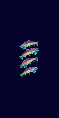 Four Rainbow Trout Poster by Jenny Armitage