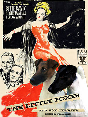 Fox Terrier - Smooth Fox Terrier Art Canvas Print - The Little Foxes Movie Poster Poster by Sandra Sij