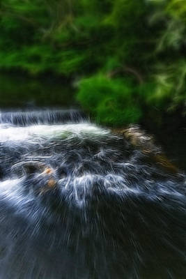 Fractalius - River Wye Waterfall - In Peak District - England Poster by Doc Braham