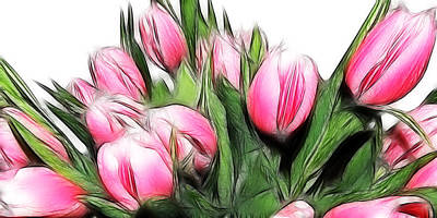 Fractalius Tulips 4 Poster by Sharon Lisa Clarke