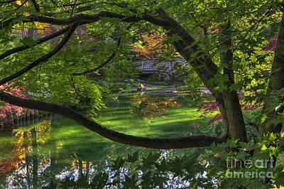 Framed Bridge -  Nishinomiya Japanese Garden Poster by Mark Kiver