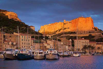 France, Corsica, Bonifacio, Port Poster by Walter Bibikow
