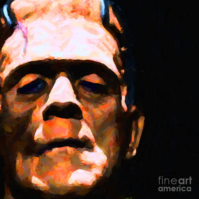 Frankenstein Painterly Black Square Poster by Wingsdomain Art and Photography