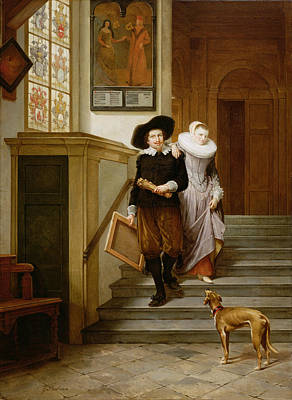 Frans Hals And His Wife Lysbeth Poster by Gerrit Postma