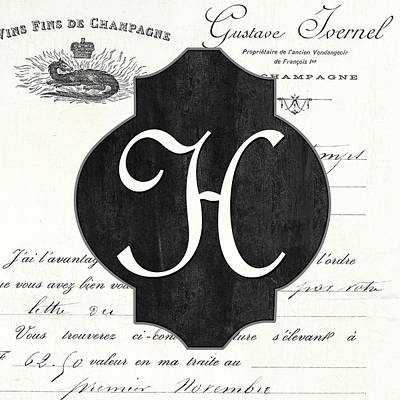 French Champagne Monogram Poster by Debbie DeWitt