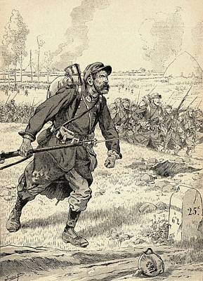French Soldier Advances During The First Battle Of The Marne, France, 1914, During World War One Poster by Bridgeman Images