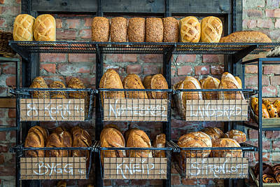 Fresh Baked Bread At Small Town Bakery  Poster by Aldona Pivoriene