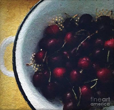 Fresh Cherries Poster by Linda Woods