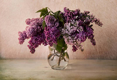 Fresh Lilac In Glass Flowerpot Poster by Jaroslaw Blaminsky