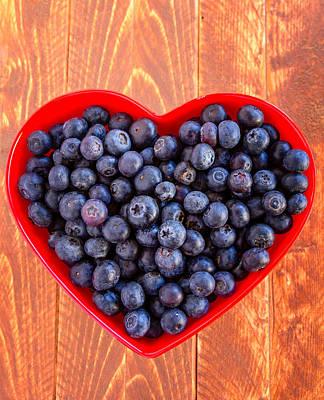 Fresh Picked Organic Blueberries Poster by Teri Virbickis