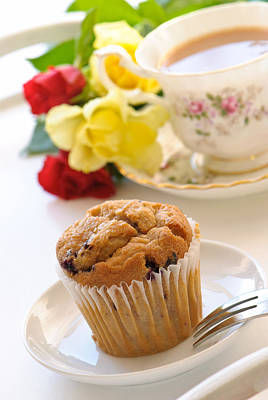 Freshly Baked Muffin With Tea Poster by Amanda And Christopher Elwell