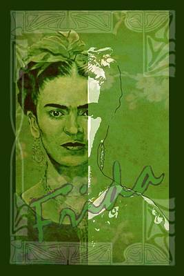 Frida Kahlo - Between Worlds - Green Poster by Richard Tito