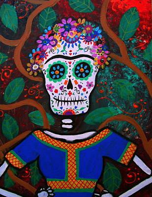 Frida Kahlo Dia De Los Muertos Poster by Pristine Cartera Turkus