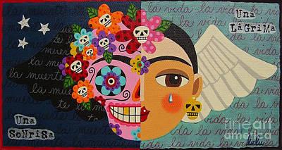 Frida Kahlo Sugar Skull Angel Poster by LuLu Mypinkturtle