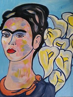 Frida Kahlo With Calla Lilies Poster by Nikki Dalton