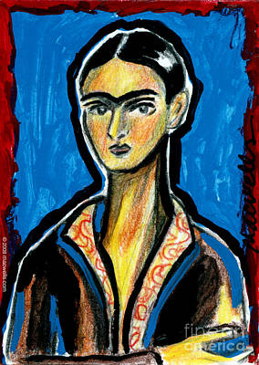 Frida On Blue Poster by Mary C Wells