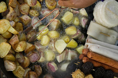 Fried Potatoes And Snacks On The Grill Poster by Panoramic Images