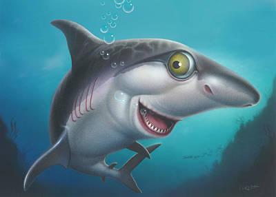 friendly Shark Cartoony cartoon under sea ocean underwater scene art print blue grey  Poster by Walt Curlee