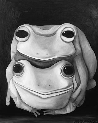 Frog Love-the Embrace Edit 2 Poster by Leah Saulnier The Painting Maniac