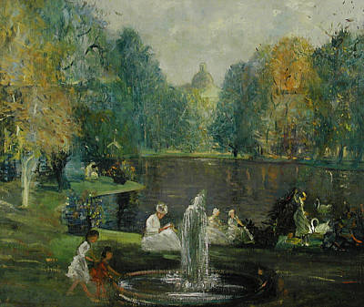 Frog Pond In Boston Public Gardens Poster by Arthur Clifton Goodwin