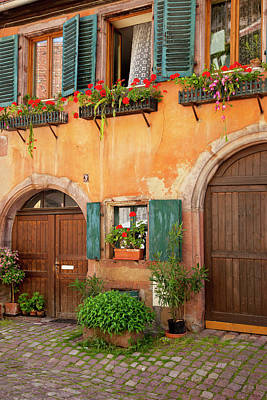 Front Doors To Home In Riquewihr Poster by Brian Jannsen