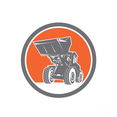 Front End Loader Digger Excavator Circle Retro Poster by Aloysius Patrimonio