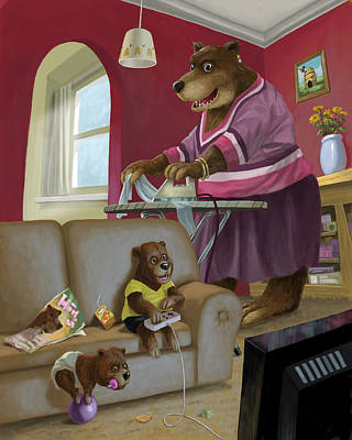 Front Room Bear Family Son Playing Computer Game Poster by Martin Davey