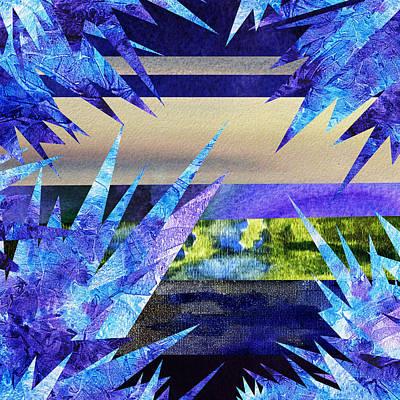Frozen  Landscape Abstract Collage Poster by Irina Sztukowski