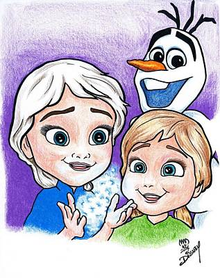 Frozen Young Anna And Young Elsa Poster by Michael Dijamco