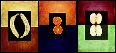 Fruity Triptych Poster by Fran Riley