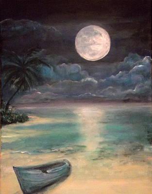 Blue Bay Moonrise Poster by Nancy Welsch