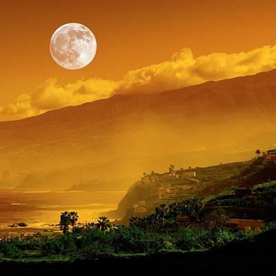 Full Moon Over Coast Poster by Detlev Van Ravenswaay