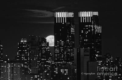 Full Moon Over New York City Poster by Regina Geoghan