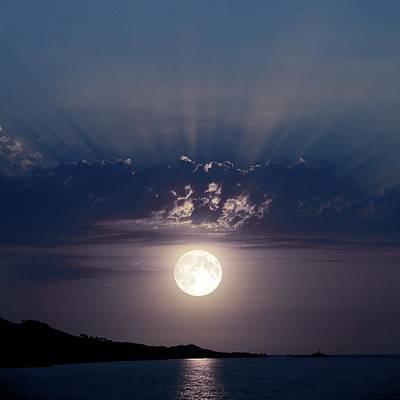 Full Moon Over The Sea Poster by Detlev Van Ravenswaay