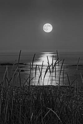 Full Moon Seawall Beach Acadia National Park Poster by Keith Webber Jr