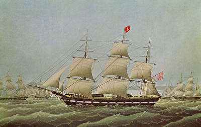 Full-rigged Ship Bremerhaven Ex Rochester Colour Litho Poster by Anonymous